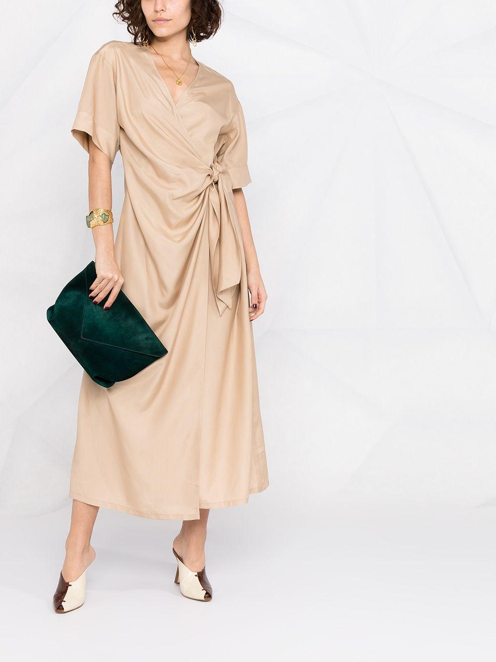 Beige silk draped dress featuring round neck P.A.R.O.S.H. |  | D724076-SEITAN004