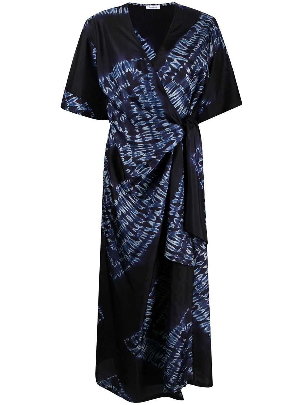 Navy silk wrap dress featuring tie-dye print V-neck  P.A.R.O.S.H. |  | D724076-SETAY812