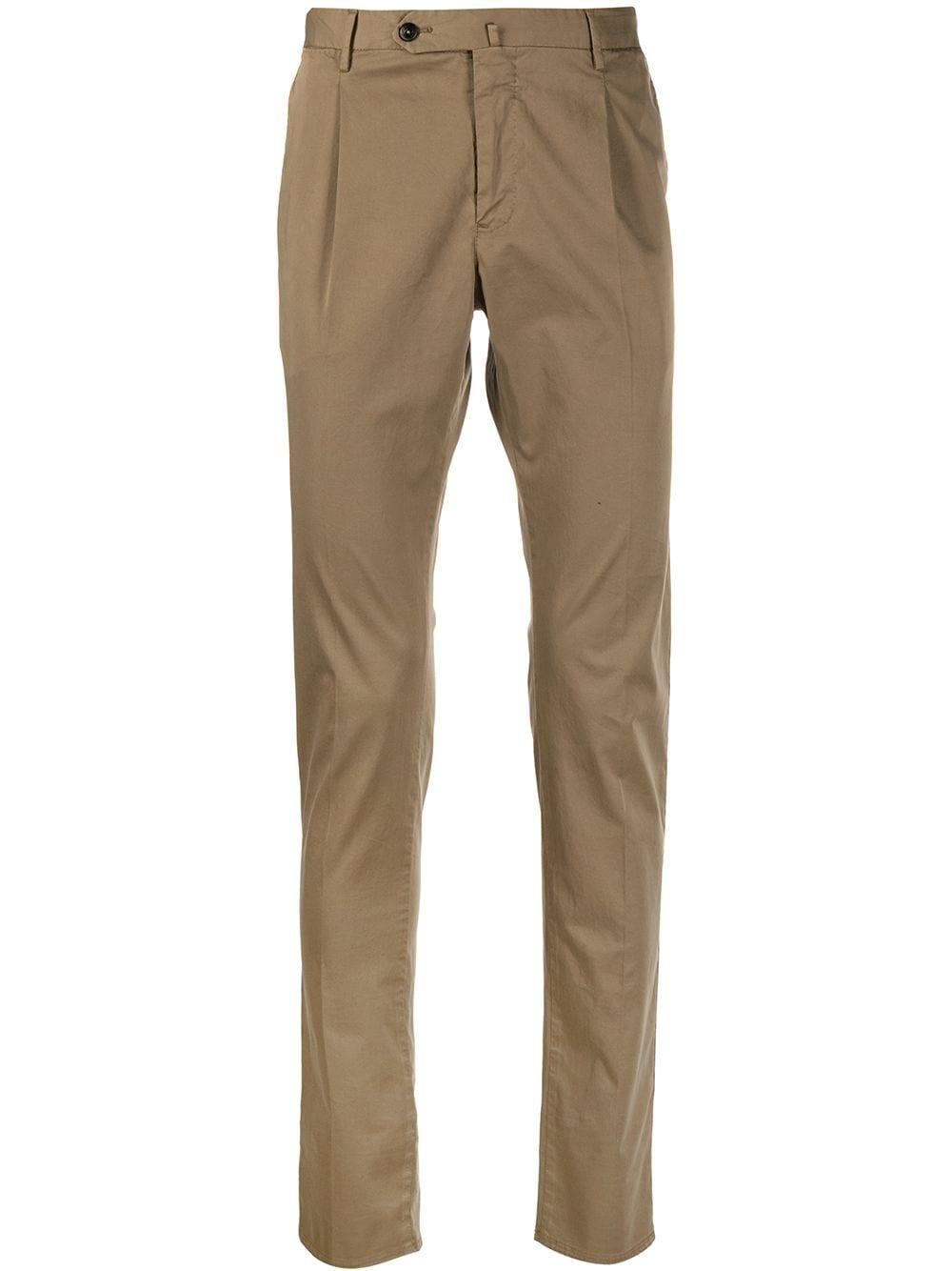 Brown cotton blend pleat detail slim trousers  PT01 |  | CODT11Z00CL1-RO050100