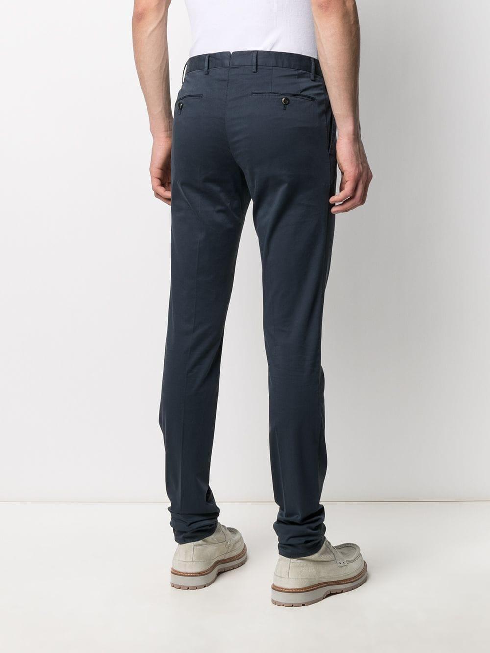 Blue cotton blend pleat detail chinos  PT01 |  | CODT11Z00CL1-RO050374