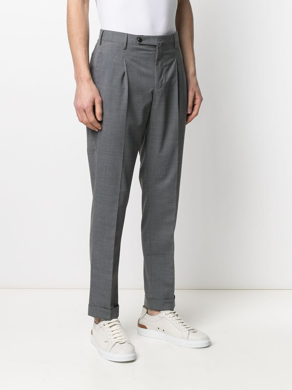 Grey wool inverted pleat trousers  PT01 |  | COHS22ZS0CUB-MZ650230