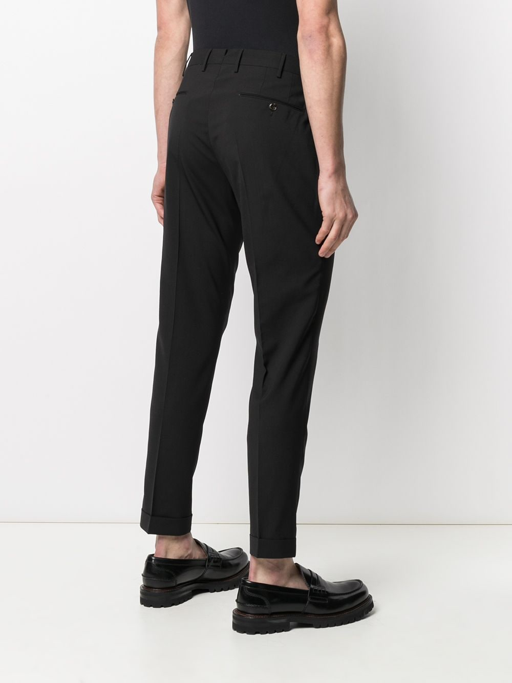Black virgin wool tailored-cut chinos featuring stretch design PT01 |  | COHS22ZS0CUB-MZ650990