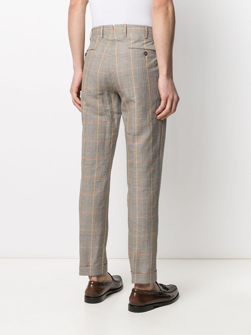 Pantaloni a quadri beige e arancio in lino-cotone con piega rovesciata PT01 | Pantaloni | COHS22ZS0SUM-MP610170