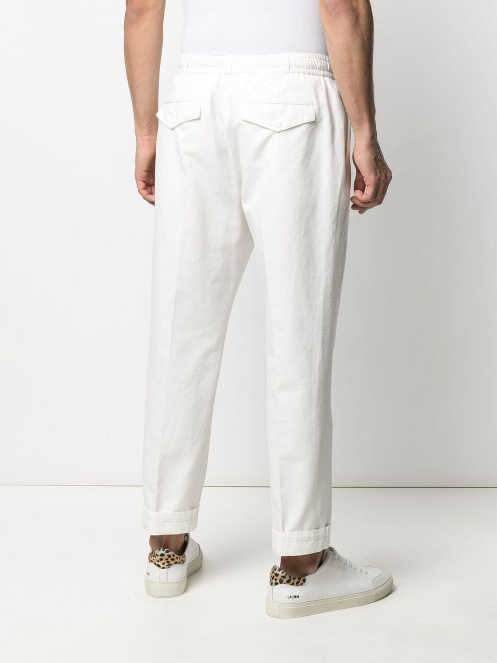 Pantaloni bianchi in cotone e lino a gamba dritta con risvolto PT01 | Pantaloni | CORLRBB00REW-BP310010