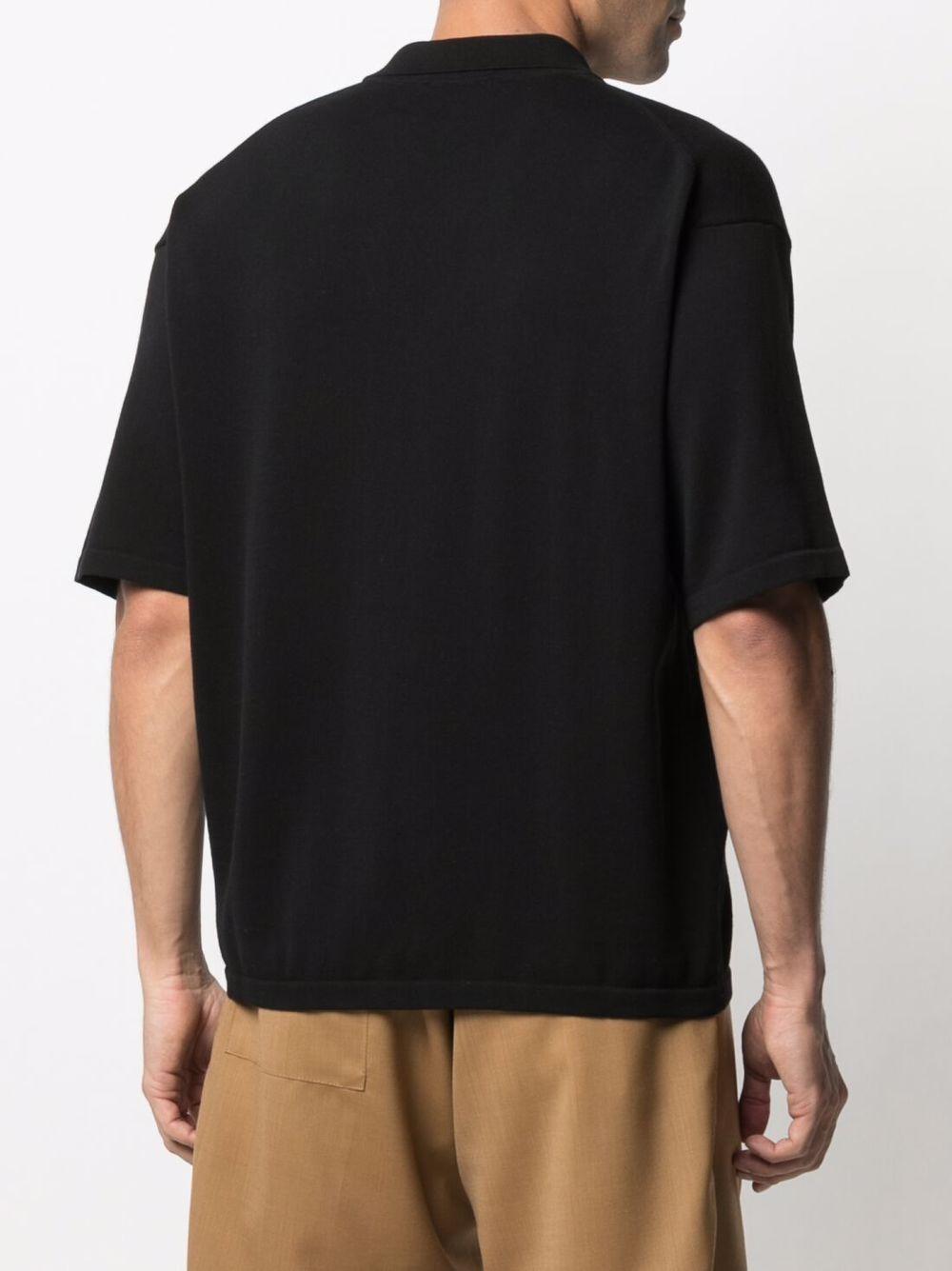 Camicia a maniche corte con colletto dentellato in cotone nero ROBERTO COLLINA | Cardigan | RE1112509