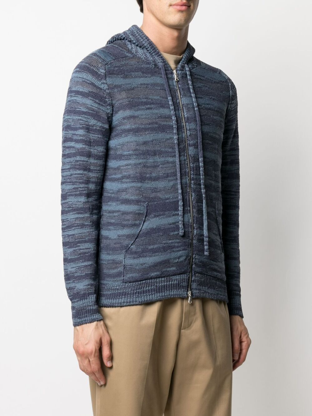 Navy blue cotton-blend rib-trimmed hooded cardigan  ROBERTO COLLINA |  | RE2600712