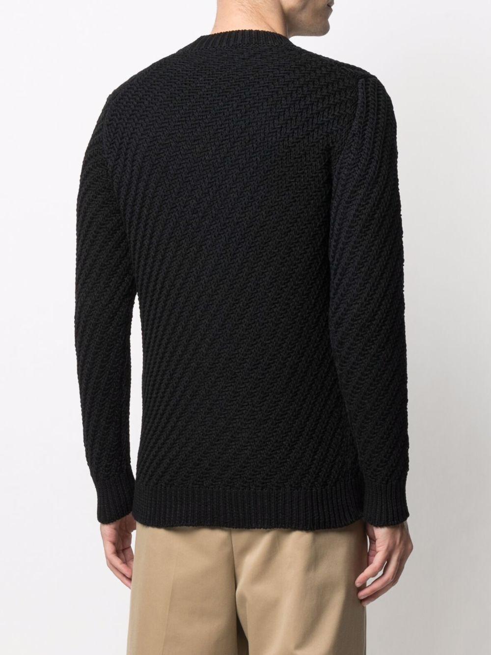 Cardigan lavorato a maglia con scollo a V in cotone nero ROBERTO COLLINA | Cardigan | RE2911009