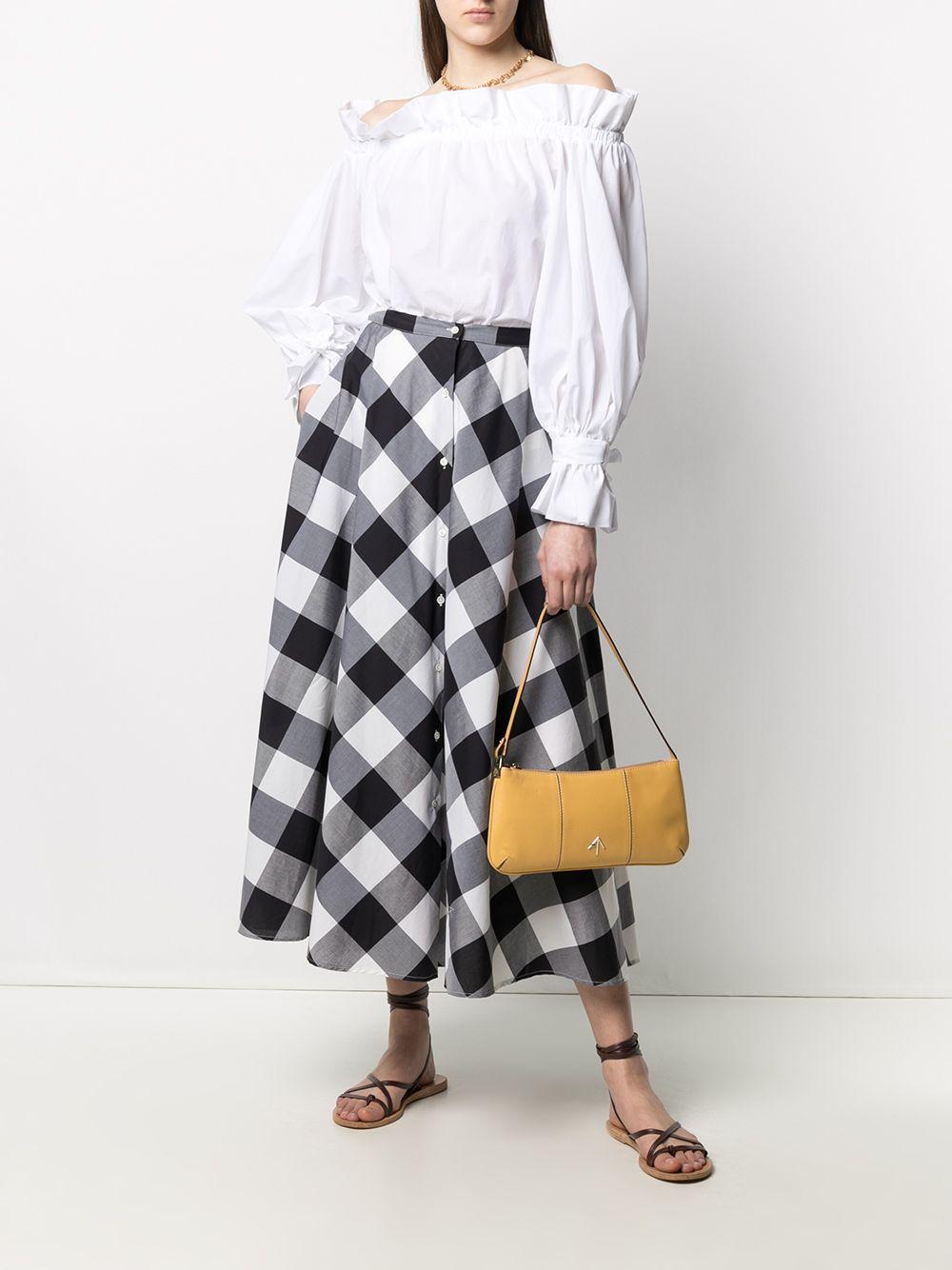 White cotton drop-shoulder ruffled blouse featuring  ruffled detailing SARA ROKA |  | ISIDE-02-S21001
