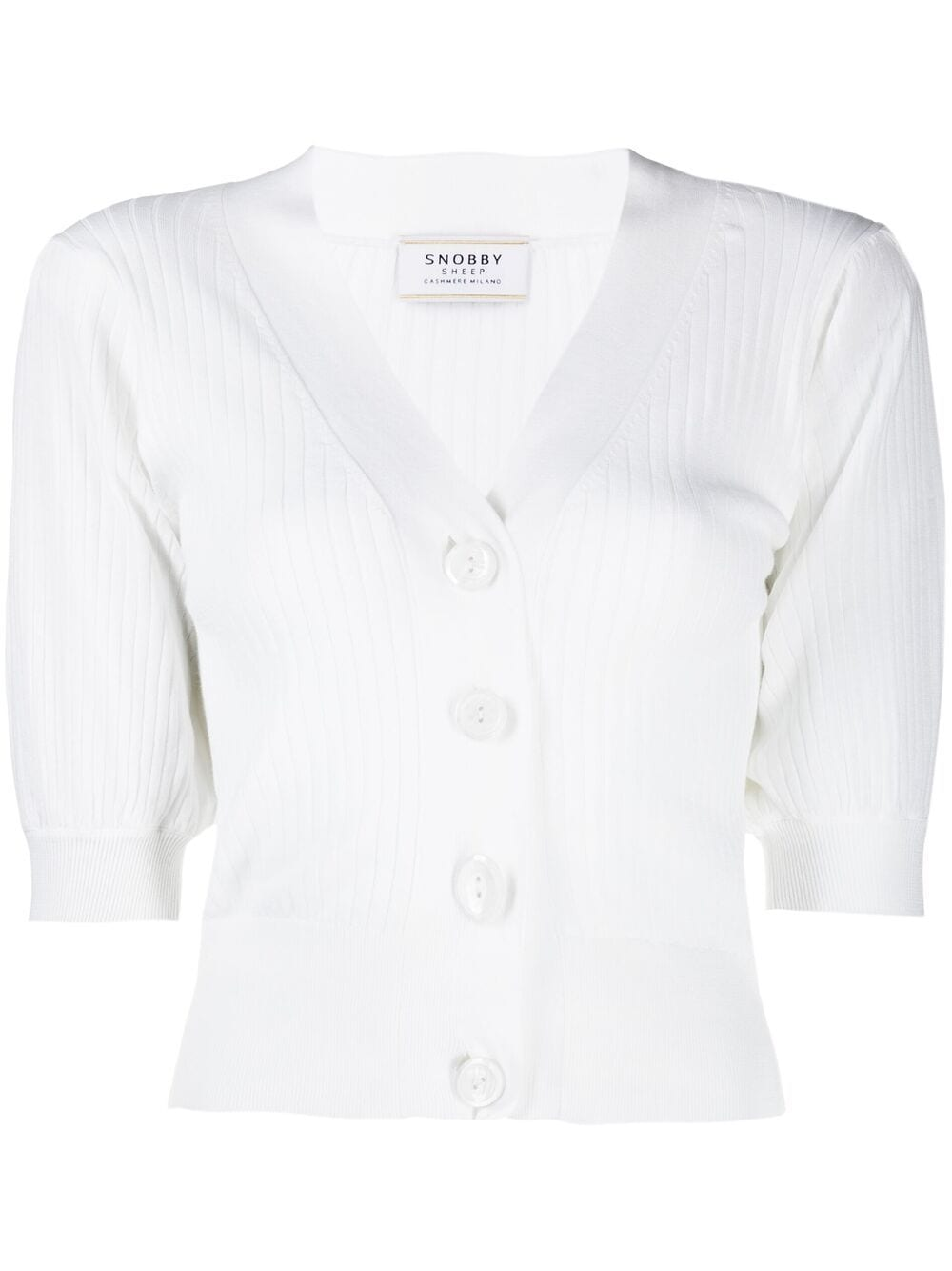 White cotton and silk puff-sleeve buttoned cardigan  SNOBBY SHEEP      S21.91130001