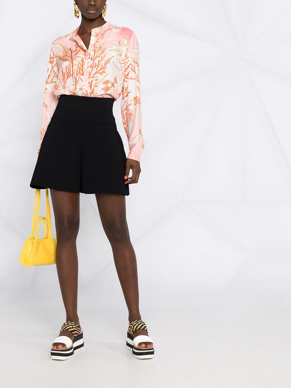 White and pink silk and cotton coral-print band-collar blouse  STELLA MC CARTNEY |  | 531885-SRA599515