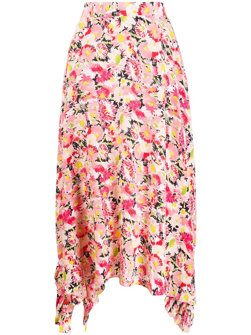Gonna con volant drappeggiata in cotone rosa con stampa floreale STELLA MC CARTNEY | Gonne | 602927-SRA278645