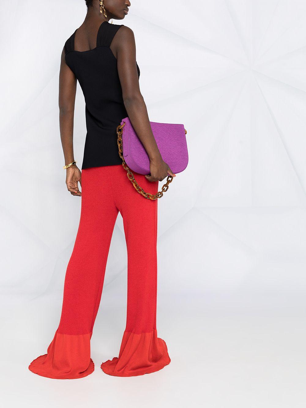 Red cotton rib-knit long-length trousers featuring  high waist STELLA MC CARTNEY |  | 602987-S22476309