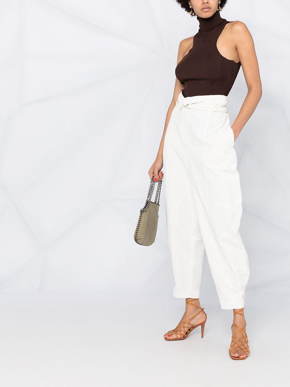 Pantaloni bianchi a vita alta affusolati in eco-cotone e lino STELLA MC CARTNEY | Pantaloni | 602991-SIA039200