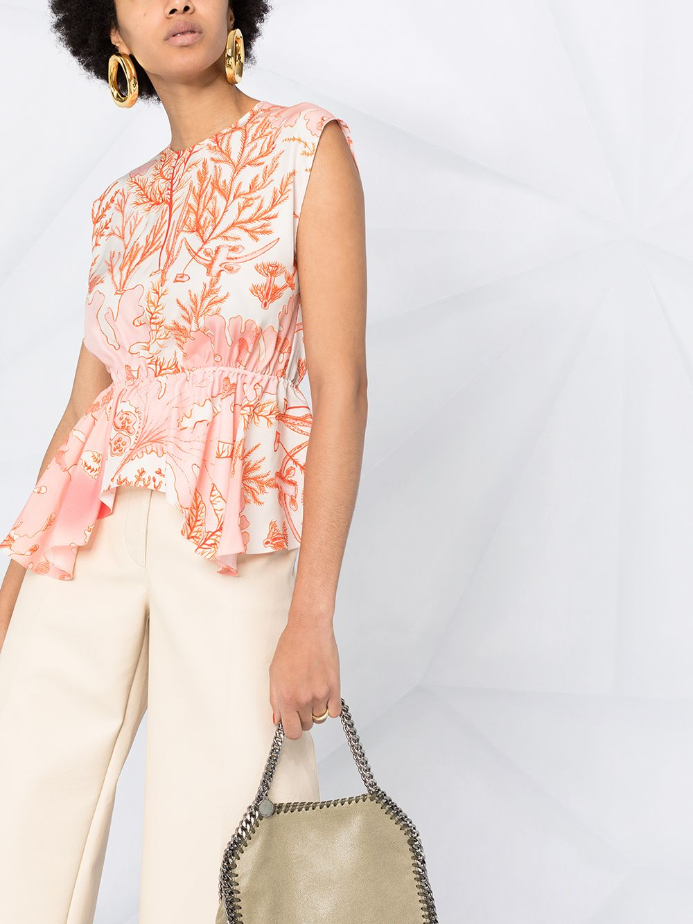 White and pink cotton coral-print peplum blouse  STELLA MC CARTNEY |  | 603123-SRA599515
