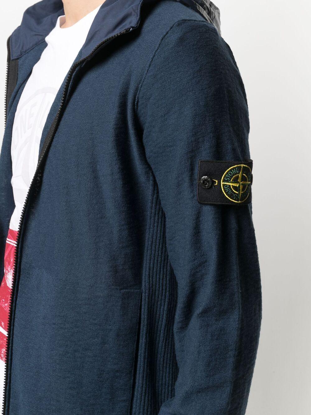 Navy cotton zipped cardigan featuring Stone Island logo at the sleeve STONE ISLAND |  | 7415525B0V0024