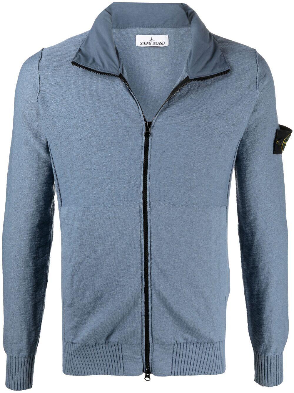 Felpa con cappuccio in maglia di cotone blu e grigio con zip e logo Stone Island  STONE ISLAND |  | 7415525B0V0046