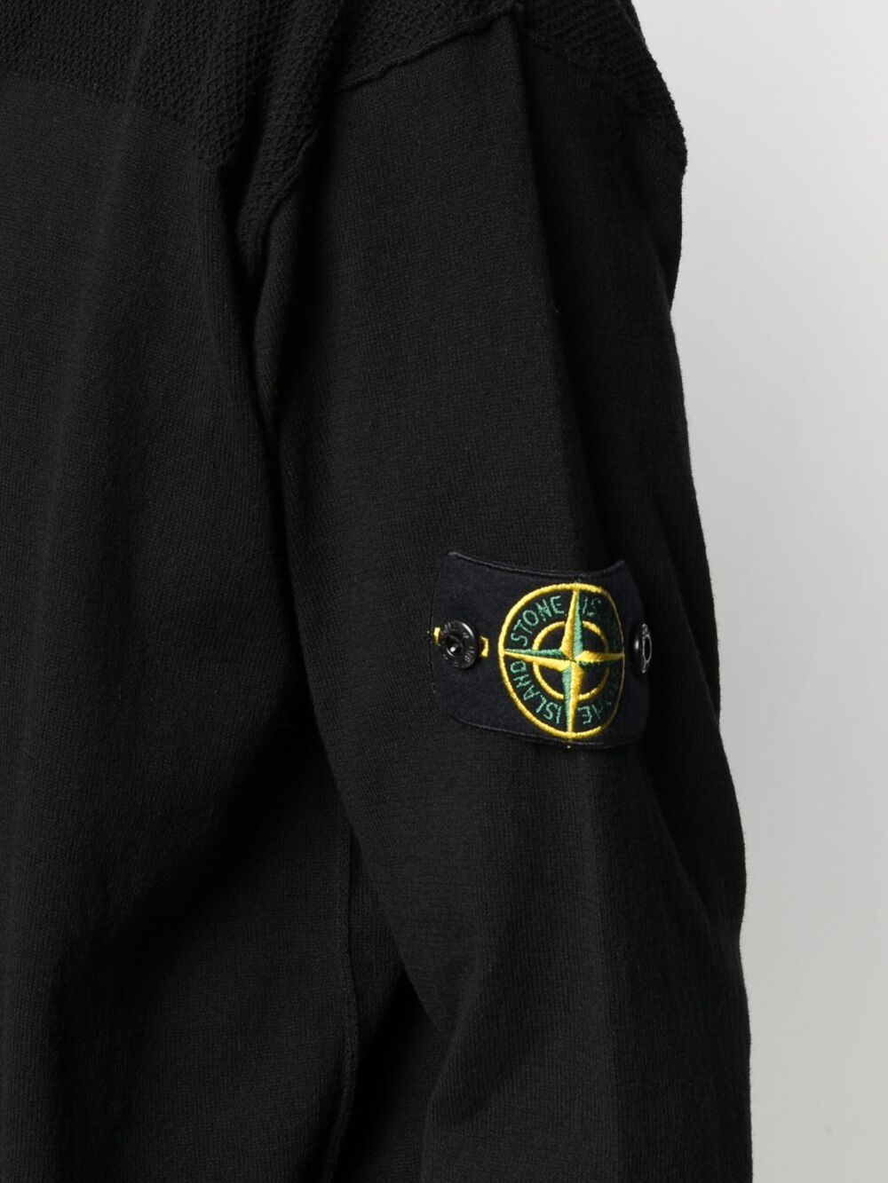 Black cotton cardigan featuring Stone Island logo patch at the sleeve STONE ISLAND |  | 7415531B4V0029