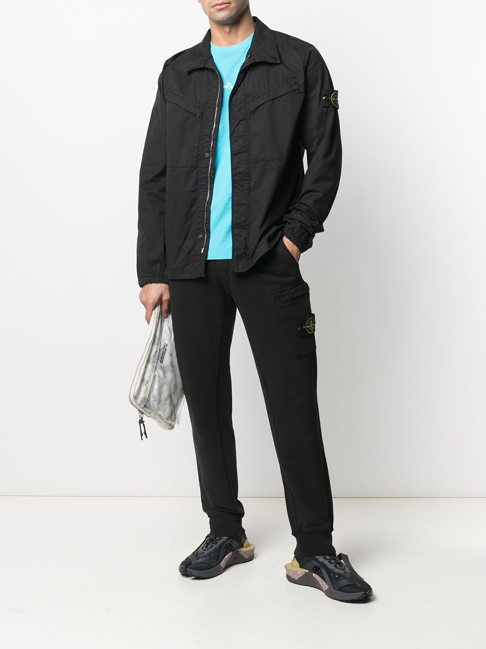 Black cotton fleece joggers featuring elasticated waistband STONE ISLAND      741564551V0029