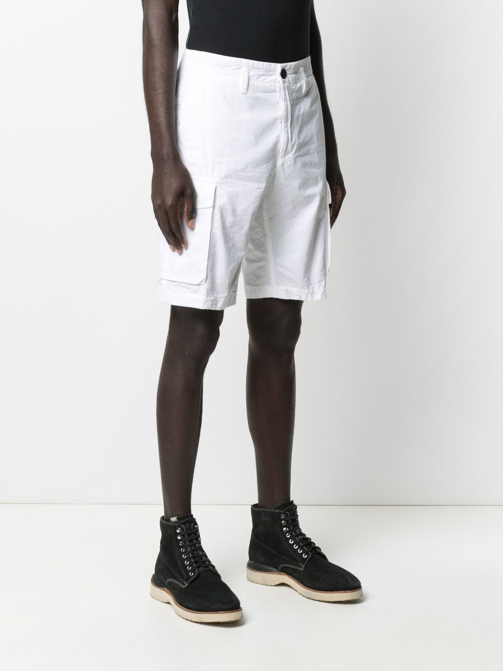 White cotton mid-rise chino shorts featuring Stone Island logo patch STONE ISLAND |  | 7415L07WAV0001