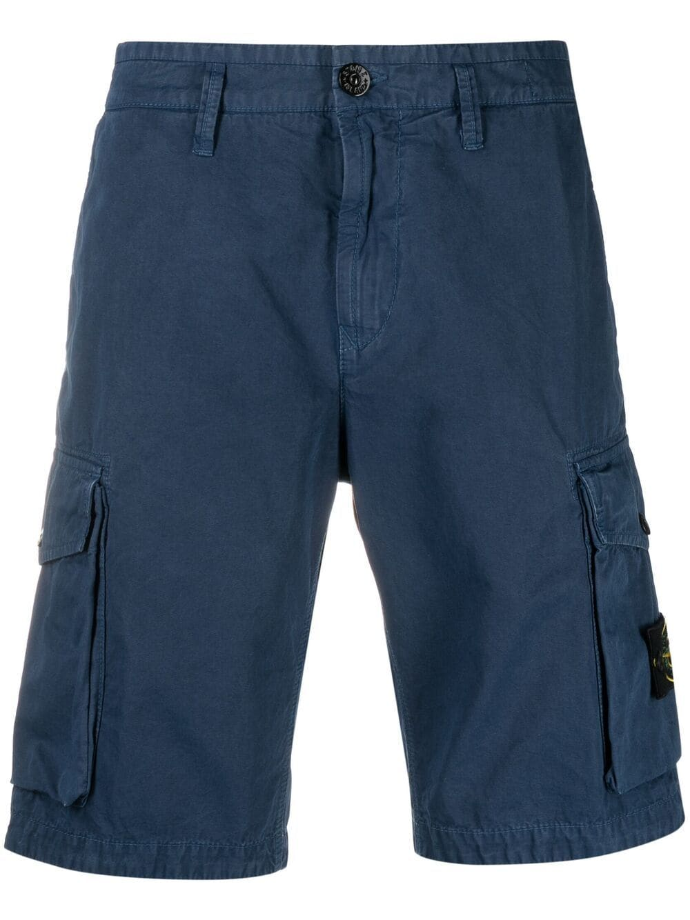 Blue cotton cargo shorts featuring Stone Island logo patch to the side STONE ISLAND |  | 7415L07WAV0124