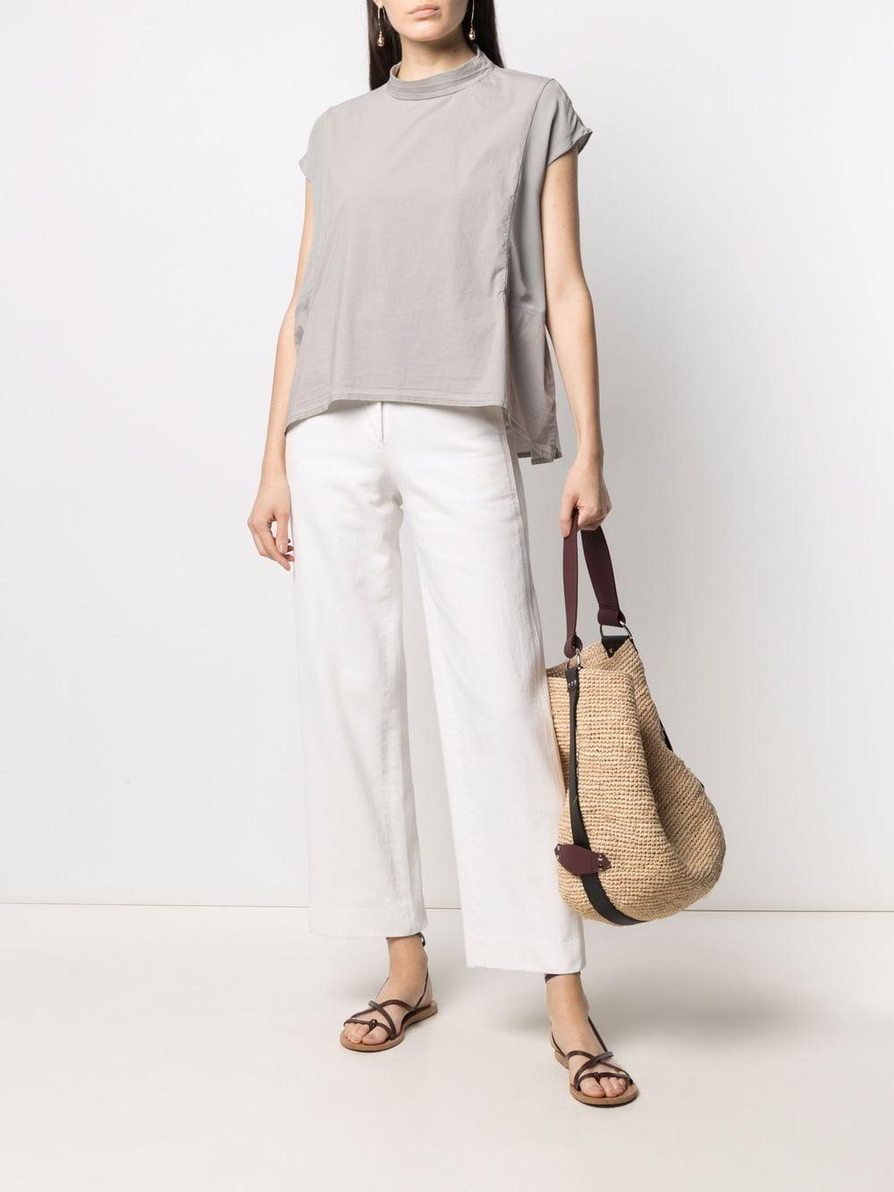 Blusa a maniche corte con collo girocollo in cotone grigio chiaro TRANSIT | Camicie | CFDTRN--M22011