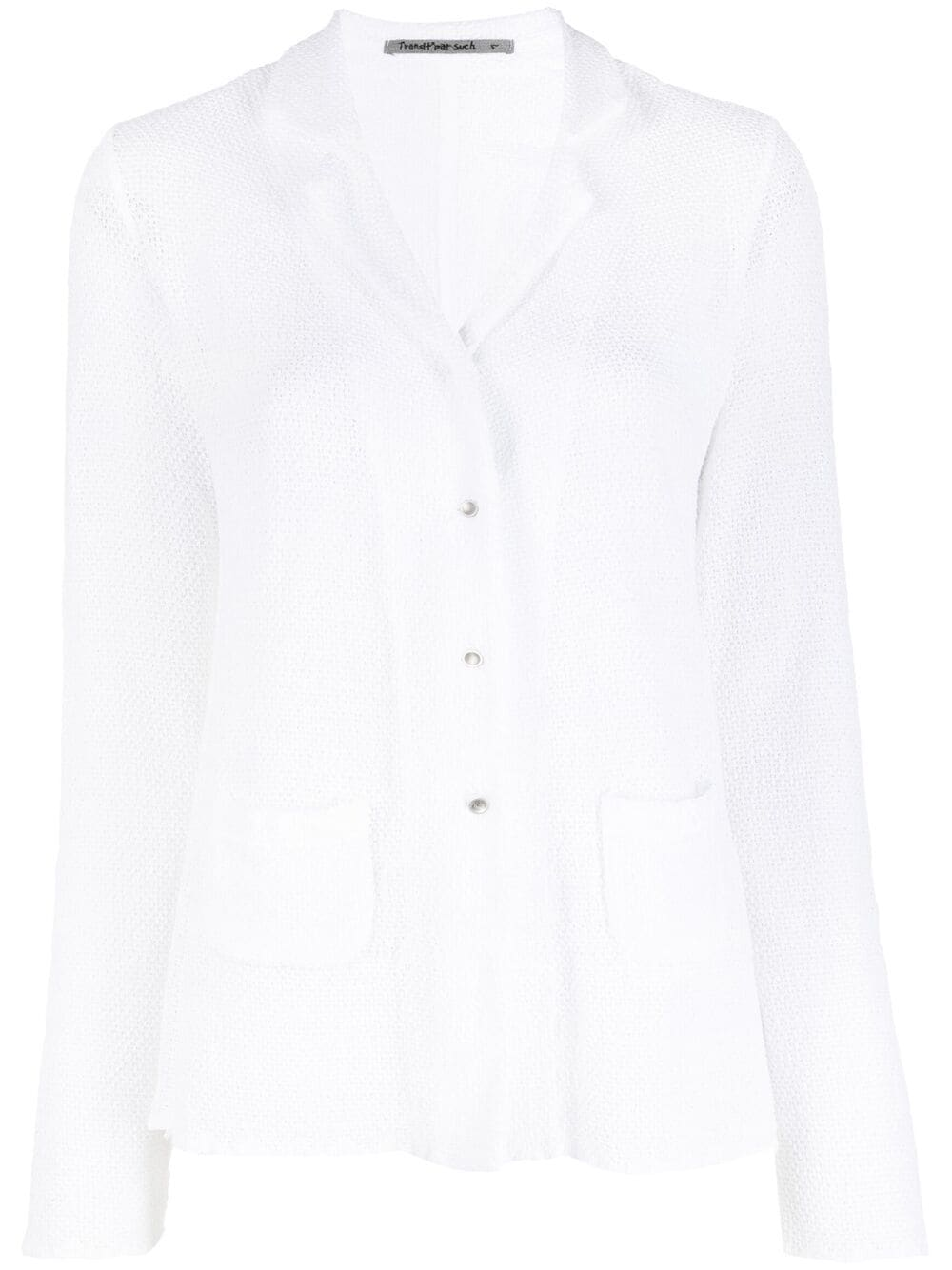 White stretch cotton single-breasted fitted blazer   TRANSIT |  | CFDTRN-A10000