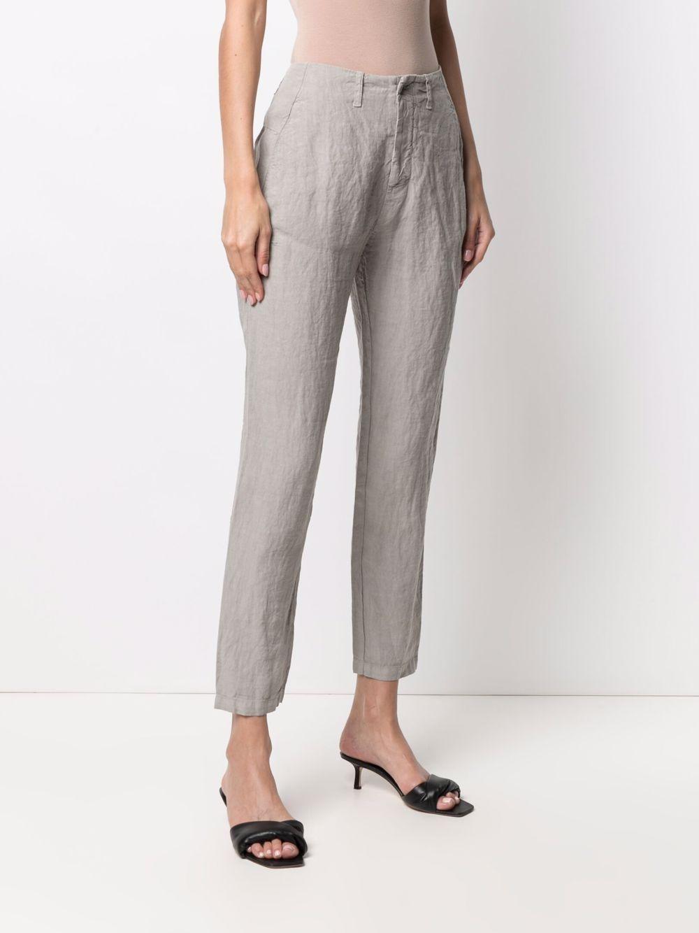 Pantaloni cropped in lino grigio con finitura stropicciata TRANSIT | Pantaloni | CFDTRN-E14311