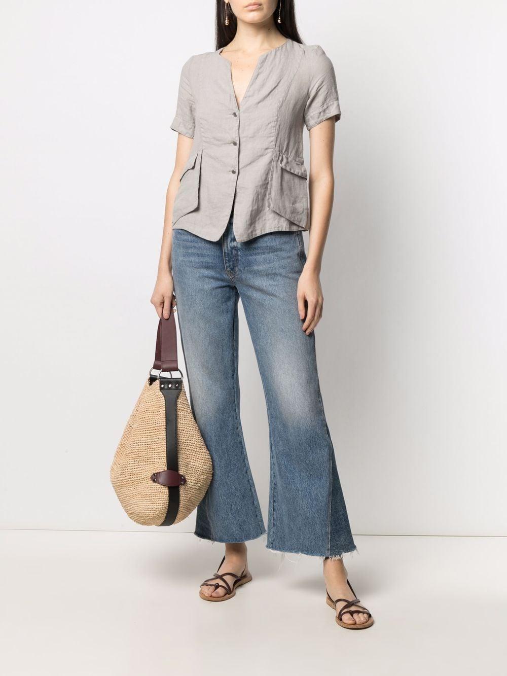 Camicia a maniche corte in lino grigio chiaro TRANSIT | Camicie | CFDTRN-E14611