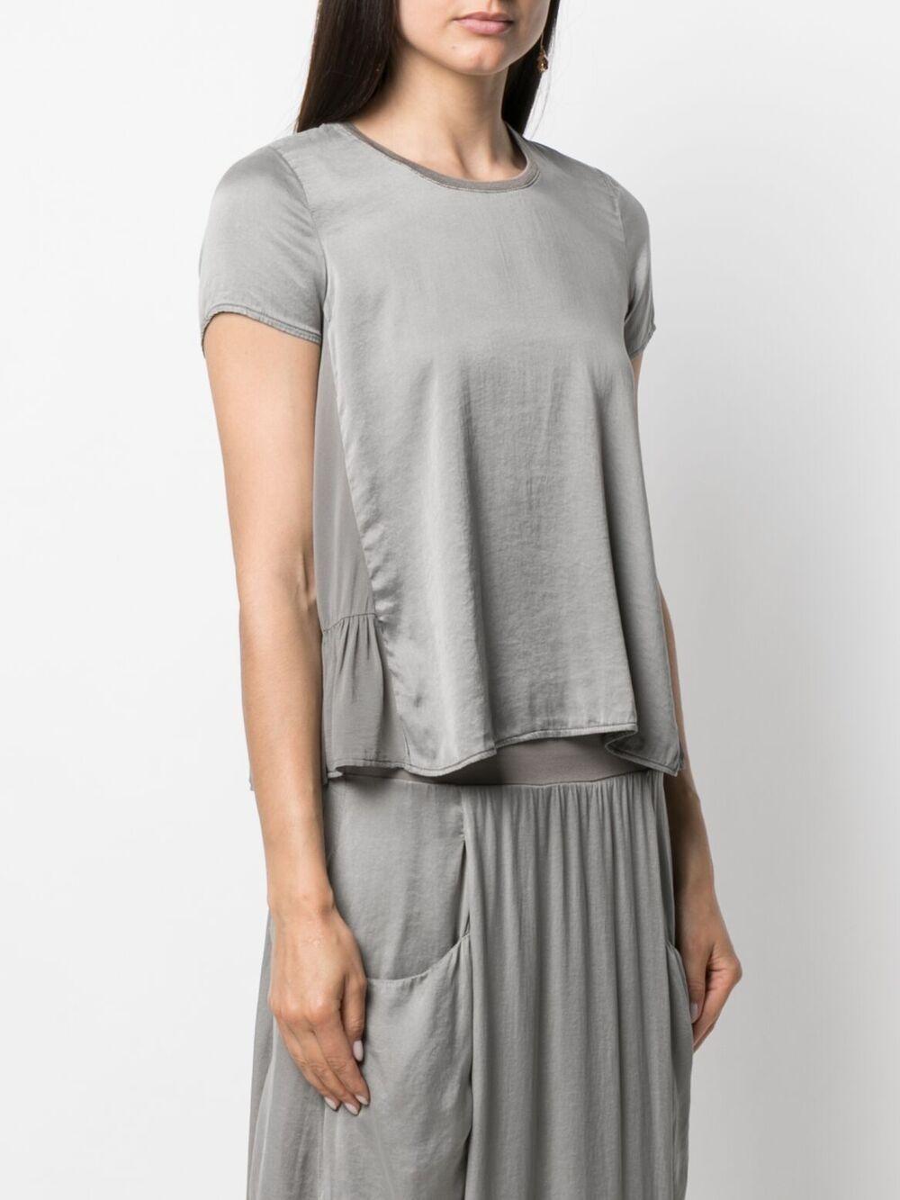 Top a maniche corte svasato in misto seta-cotone color argento TRANSIT | Camicie | CFDTRN-H17012
