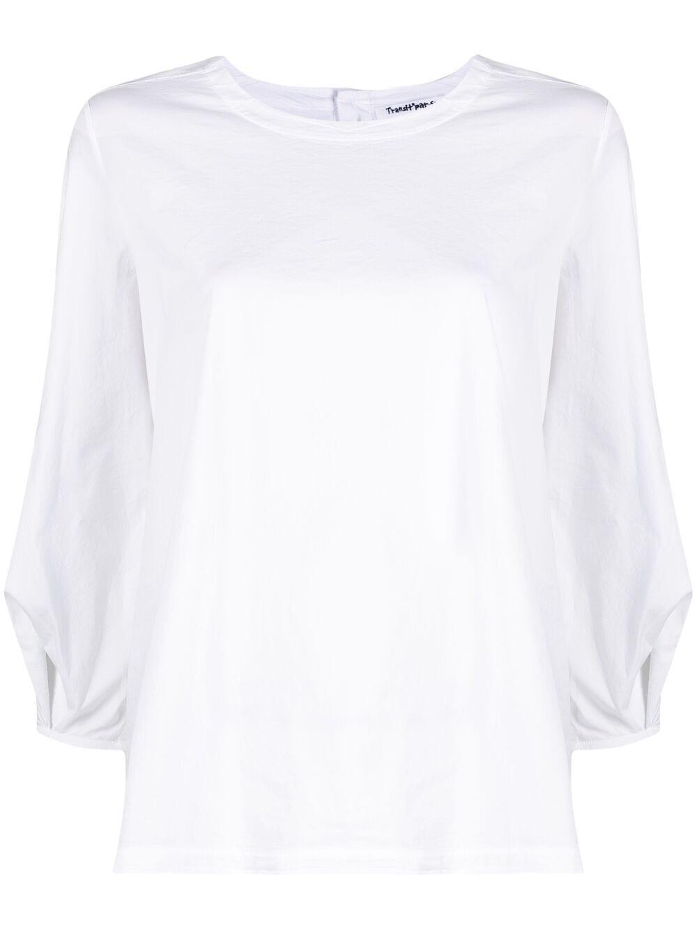 Blusa bianca in misto cotone con maniche a tre quarti dal taglio slim TRANSIT | Camicie | CFDTRN-M22100