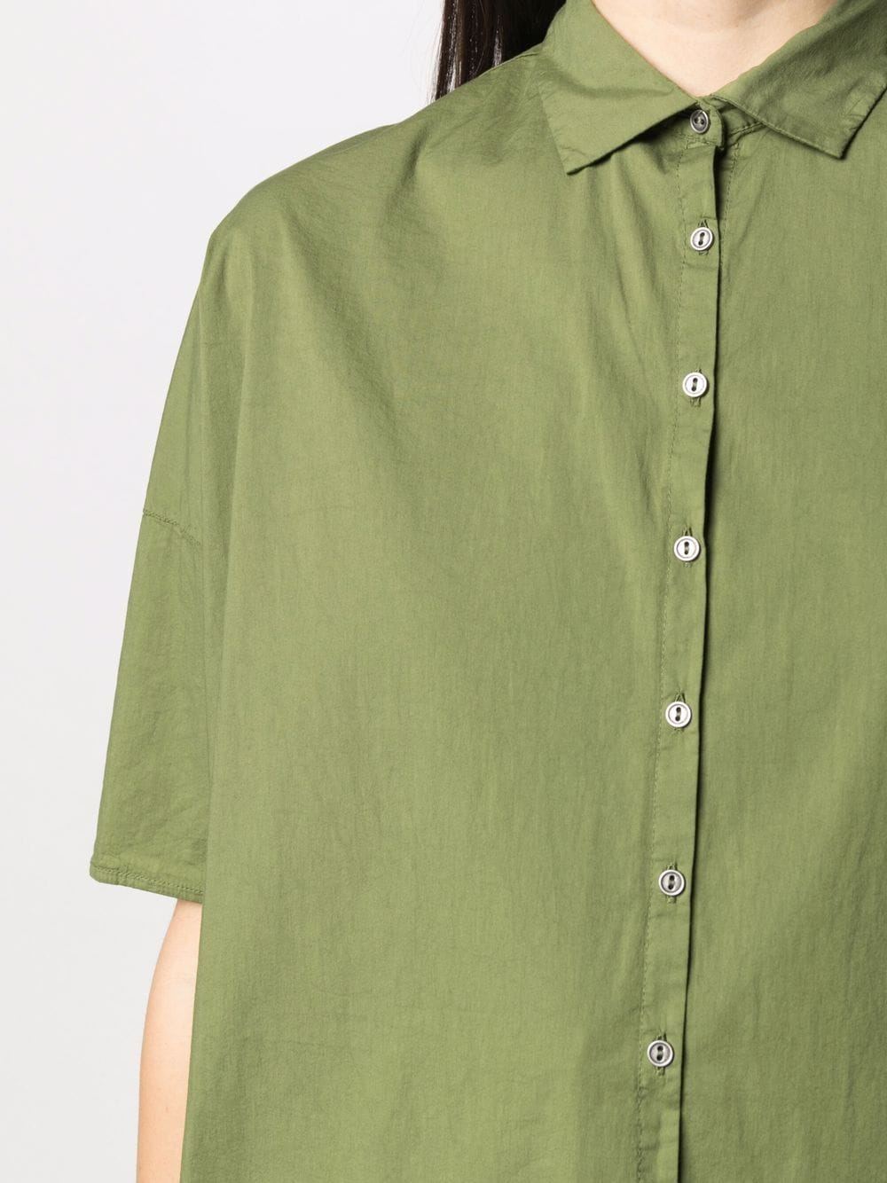 Army green cotton short-sleeved button-up shirt  TRANSIT |  | CFDTRN-M22314