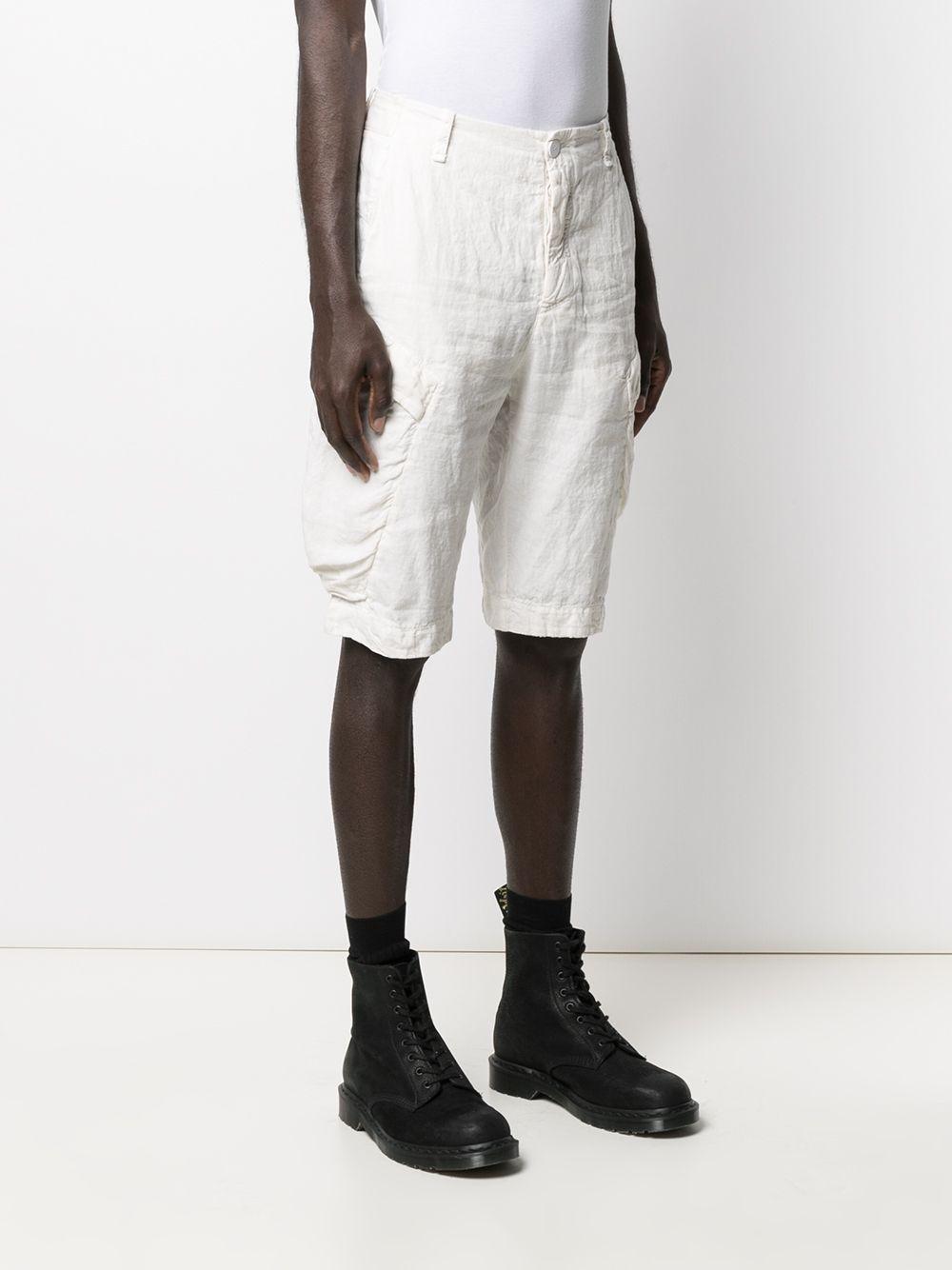 Shorts cargo al ginocchio in cotone e lino bianchi TRANSIT   Bermuda   CFUTRN-D133U01