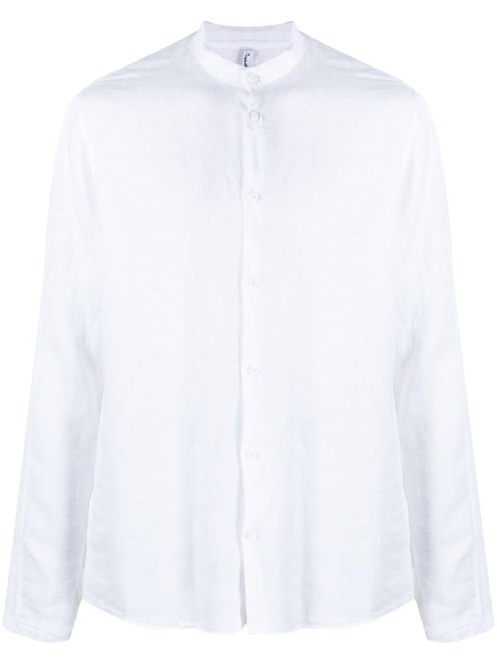 White linen collarless long-sleeve shirt  TRANSIT |  | CFUTRN-V312U00