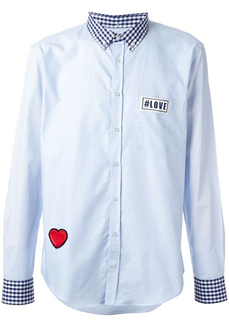 Light blue cotton shirt with chekered collar and sleeves MSGM |  | 1740ME12-144655CELESTE