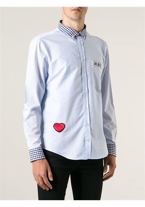 Camicia azzurra in cotone con collo e maniche a quadretti MSGM | Camicie | 1740ME12-144655CELESTE