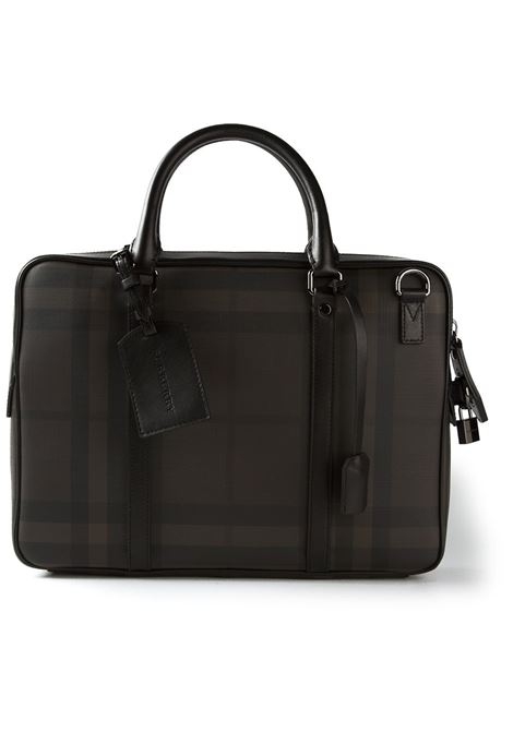 Brown and black checked satchel featuring a top zip closure BURBERRY |  | 3873612-SM NEWBURGMARRONE-NERO