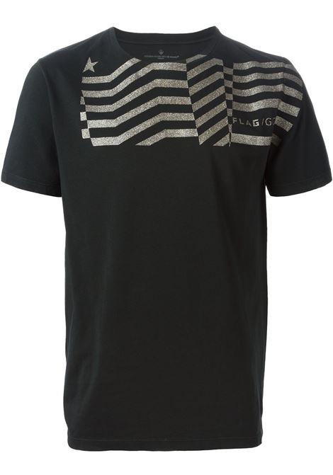 T-shirt in cotone nero con dettagli a righe glitterate dorate GGDB | Maglieria Moda | G27U527.A2NERO