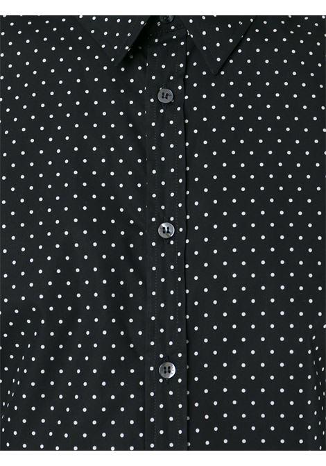 Camicia nera in cotone con stampa a pois bianchi all over MSGM | Camicie | 1940ME11-154521NERO-BIANCO
