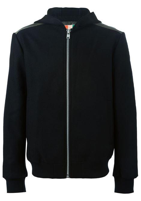 Felpa con zip in misto lana nera con imbottitura verde sulla schiena MSGM | Giubbini | 1940MH03-154611NERO-KAKI