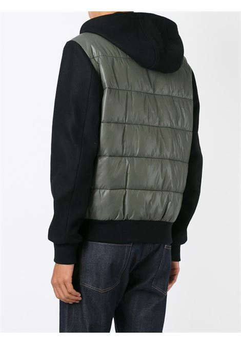 Black wool blend zip up hoodie with padded detail MSGM |  | 1940MH03-154611NERO-KAKI