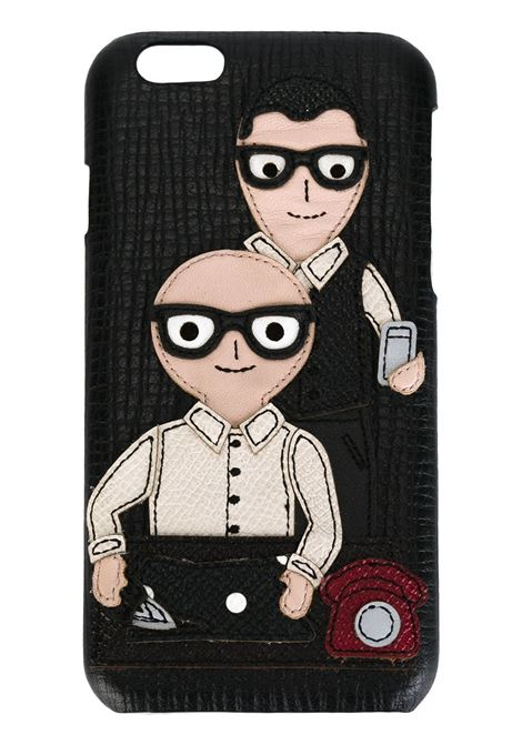 black leather iPhone 6 case with Domenico Dolce and Stefano Gabbana cartoon front patch  DOLCE & GABBANA |  | BP2157-AB37080999