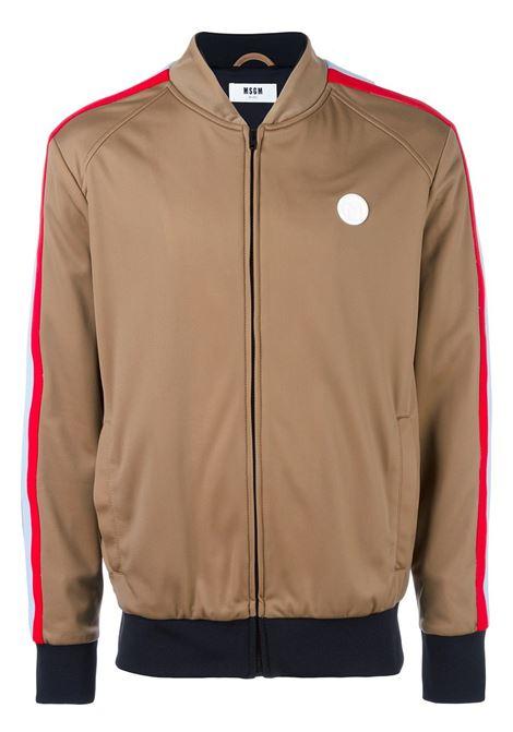 Bomber marrone con zip con dettagli multicolor MSGM | Maglieria Moda | 2140MM06Y-164703BEIGE