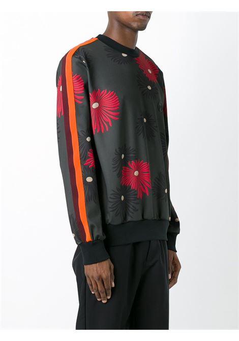 felpa in jersey bordeaux con bande sulle maniche arancioni MSGM | Maglieria Moda | 2140MM70Y-164668VERDE-BORDEAUX