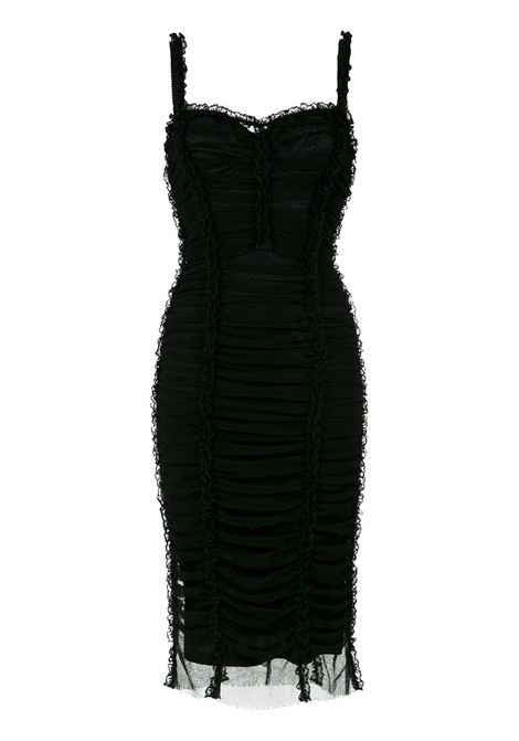 black ruched mini dress with lace details DOLCE & GABBANA |  | F67A0T-FLEAAN0000
