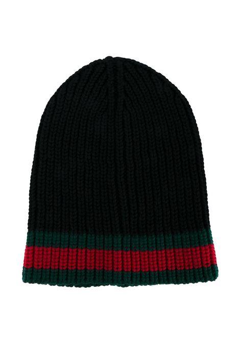 berretto in lana nera con dettaglio Gucci Web GUCCI | Cappelli | 429753-4G2061000