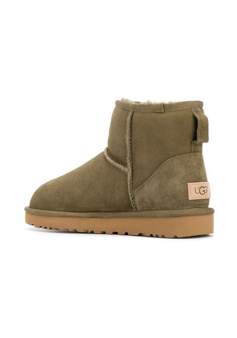 Khaki green leather and sheep skin Classic Mini II boots with rubber sole UGG |  | 1016222-MINI CLASSICPRUCE