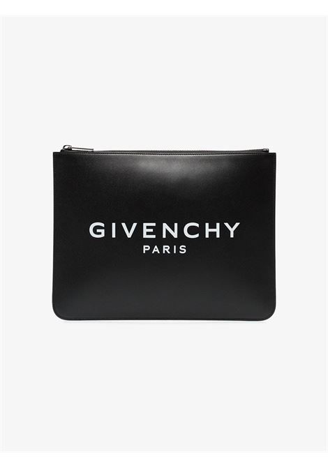 black calf leather clutch with white printed Givenchy Paris logo GIVENCHY |  | BK600JK0AC-LARGE ZIPPED POUCH001