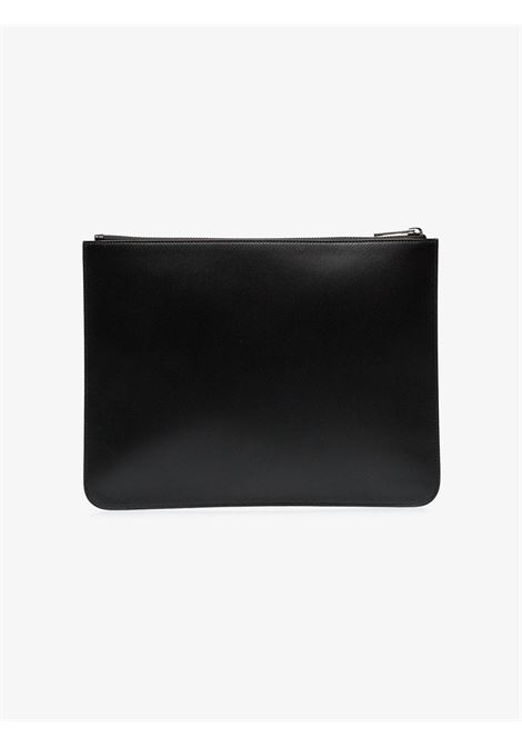 clutch in pelle di vitello nera con logo Givenchy bianco GIVENCHY | Borsa | BK600JK0AC-LARGE ZIPPED POUCH001