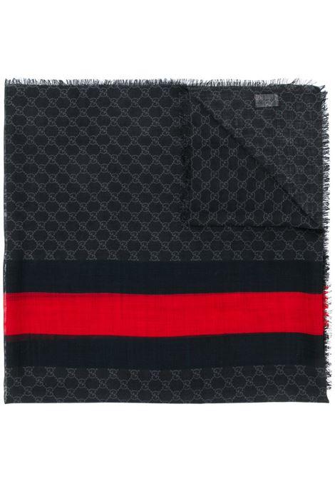 sciarpa in garza lana 70x200 nera con banda Gucci Web rossa centrale GUCCI | Sciarpa | 497915-4G2001074