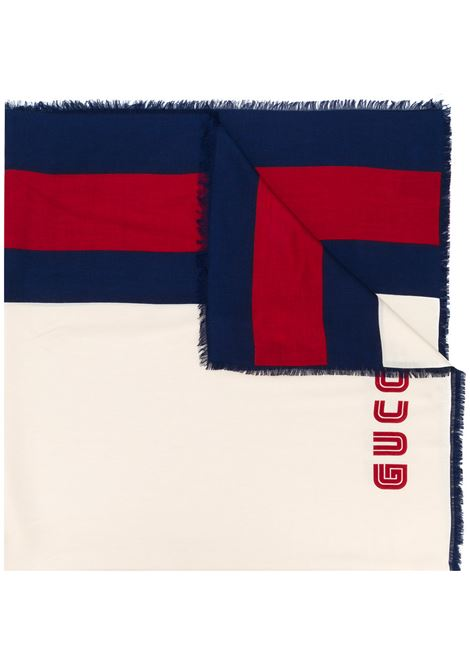 whte modal silk stole with blue and red Gucci Web detail and Guccy red printed logo  GUCCI |  | 521098-4G3649268